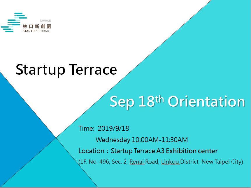 9/18 Startup Terrace Residency Orientation