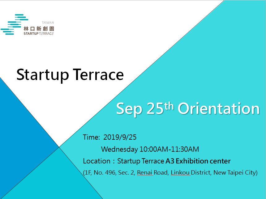 9/25 Startup Terrace Residency Orientation